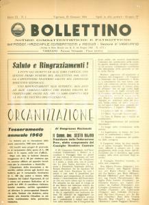 1960 BOLLETTINO NOTIZIE COMBATTENTISTICHE Tesseramento annuale *Rivista