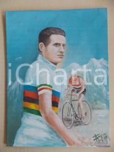 1960 ca Pittore Abramo FOGLIA Ritratto Alfredo BINDA su tela Firma AUTOGRAFA