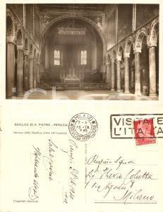 1941 PERUGIA Abate Ildebrando GREGORI invia saluti Basilica SAN PIETRO AUTOGRAFO