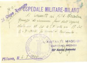 1944 MILANO RSI Soldato Giuseppe AZZOLINA Permesso di uscita dall'Ospedale