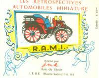 1970 ca LURE (F) Les Retrospectives Automobiles Miniatures R.A.M.I. *Illustrato