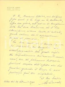 1940 MILANO Attilio LANDI invia un volume *Lettera AUTOGRAFA