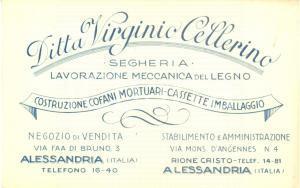 1930 ca ALESSANDRIA Ditta Virginio CELLERINO Segheria cofani mortuari *Biglietto