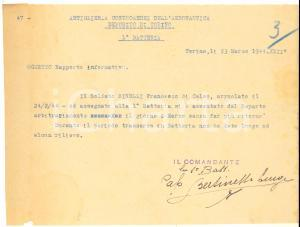 1944 TORINO RSI Artiglieria Contraerei Francesco BINELLI scappa da 1° Batteria