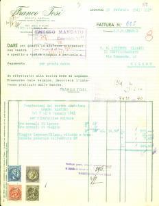 1941 LEGNANO (MI) Società Anonima FRANCO TOSI Conto lavoro di Martino GENONI