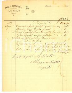 1889 MILANO via BROLETTO Sarto Angelo MAZZUCHELLI *Fattura manoscritta