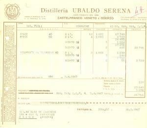 1967 CASTELFRANCO VENETO (TV) Distilleria Ubaldo SERENA *Fattura commerciale