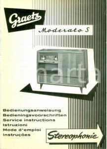 1955 ca GRAETZ MODERATO S Radiotelevisori stereofonia *Opuscolo ILLUSTRATO
