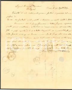1869 BARI Ditta Saverio DAMIANI vittima dello sciopero ferroviario *Lettera