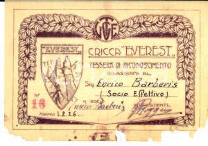 1926 TORINO ALPINISMO Cricca EVEREST - Tessera socio Enrico BARBERIS