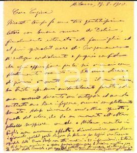 1910 MILANO Biglietto a Maria Anna BONOLA LORELLA su epidemia colera in Puglia
