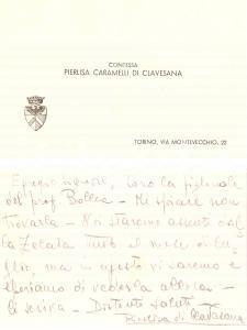 1940 ca TORINO Contessa Pierlisa CARAMELLI DI CLAVESANA Biglietto con AUTOGRAFO