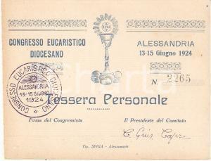 1924 ALESSANDRIA Congresso Eucaristico Diocesano *Tessera personale