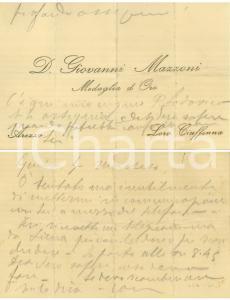 1940 ca LORO CIUFFENNA (AR) Biglietto da visita don Giovanni MAZZONI *Autografo