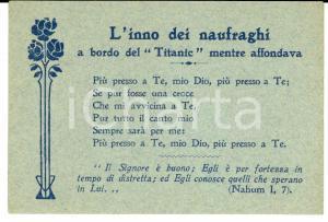 1915 ca Inno dei naufragi a bordo del TITANIC mentre affondava *Biglietto
