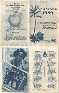 1939 SOMALIA AOI Calendarietto Missioni Francescane J.M.J.F. ILLUSTRATO