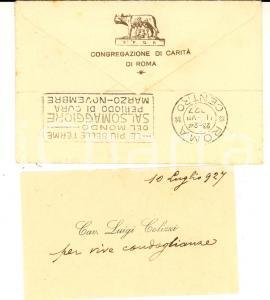 1927 ROMA Cav. Luigi COLIZZI - Congregazione di Carità *Biglietto AUTOGRAFO