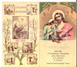 1931 NOVARA Parrocchia SAN MARTINO Santino Prima Comunione *Centenario Antoniano