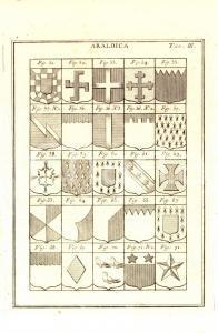 1780 ca ARALDICA Tavola con scudi *Dizionario universale Efraimo CHAMBERS