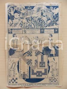 1930 Rivista IL RICAMO ILLUSTRATO Modelli decorazioni tovaglie *Anno XI n° 16