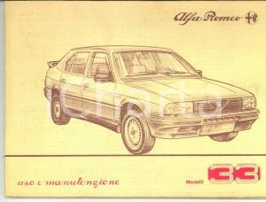 1985 ca ALFA ROMEO Libretto uso e manutenzione MODELLI 33 96 pp.