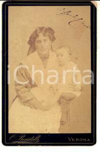 1890 VERONA Ritratto del piccolo Raffaele PEDRINA con la balia *Foto BENATELLI