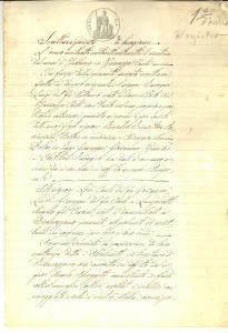 1877 RIVANAZZANO (PV) Luigi RACCAGNI affitta podere I MOLINETTI a Carlo LODI