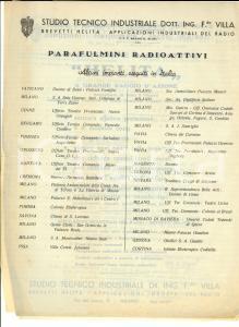 1938 MILANO Preventivo studio tecnico industriale ing. VILLA per parafulmini