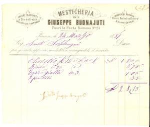 1881 FIRENZE Giuseppe BONAJUTI mesticheria *Fattura intestata per pittura