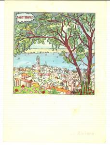 1962 RIVIERA CRUISES Motonave RIVIERA PRIMA Menù -  SAINT-TROPEZ Illustrato