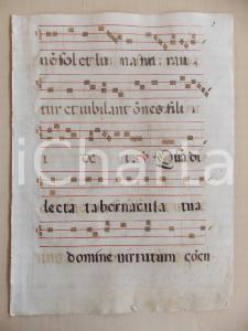 1600 ca ANTIFONARIO ROMANO Pagina manoscritta rosso e nero Salmo QUAM DILECTA