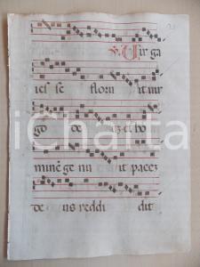 1600 ca ANTIFONARIO ROMANO Pagina mansocritta canti rosso nero Salmo VIRGA IESSE