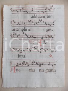 1600 ca ANTIFONARIO ROMANO Pagina manoscritta canti rosso nero Salmo AVEMARIA