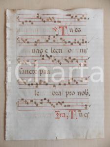 1600 ca ANTIFONARIO ROMANO Pagina manoscritta canti rosso e nero Salmo TU ES VAS