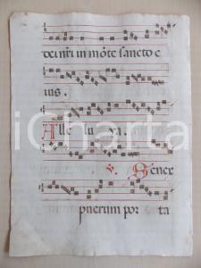 1600 ca ANTIFONARIO ROMANO Pagina manoscritta canti rosso e nero Salmo SENEX