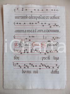 1600 ca ANTIFONARIO ROMANO Pagina manoscritta canti rosso nero Salmo SPECIOSUS