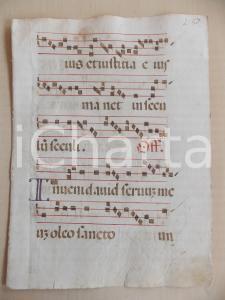 1600 ca ANTIFONARIO ROMANO Pagina manoscritta rosso nero Salmo INVENI DAVID