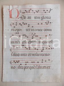 1600 ca ANTIFONARIO ROMANO Pagina manoscritta canti rosso e nero NOS AUTEM