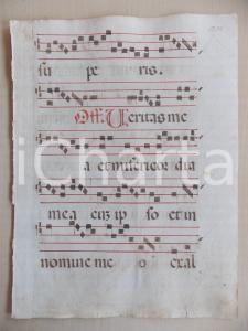 1600 ca ANTIFONARIO ROMANO Pagina manoscritta canti rosso nero Salmo VERITAS MEA