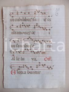 1600 ca ANTIFONARIO ROMANO Pagina manoscritta rosso nero Salmo GLORIABUNTUR