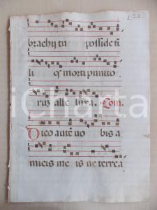 1600 ca ANTIFONARIO ROMANO Pagina manoscritta canti rosso nero Salmo DICO AUTEM