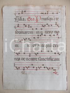 1600 ca ANTIFONARIO ROMANO Pagina manoscritta rosso nero Salmo PRIUSQUAM TE