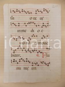 1600 ca ANTIFONARIO ROMANO Pagina manoscritta canti rosso nero Salmo ALUMINIS