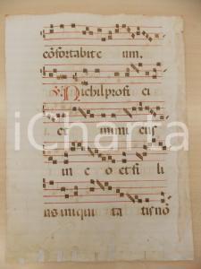 1600 ca ANTIFONARIO ROMANO Pagina manoscritta rosso nero Salmo NIHIL Danneggiata