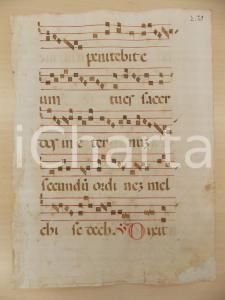 1600 ca ANTIFONARIO ROMANO Pagina manoscritta rosso nero Salmo DIXIT Danneggiata