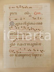 1600 ca ANTIFONARIO ROMANO Pagina manoscritta canti rosso e nero Salmo MAGNA