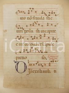 1600 ca ANTIFONARIO ROMANO Pagina manoscritta canti rosso nero Salmo DILEXISTI
