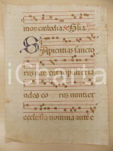 1600 ca ANTIFONARIO ROMANO Pagina manoscritta canti rosso nero Salmo SAPIENTIAM