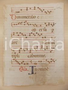 1600 ca ANTIFONARIO ROMANO Pagina manoscritta canti rosso nero Salmo DINUMERABO