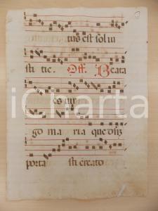 1600 ca ANTIFONARIO ROMANO Pagina manoscritta canti rosso nero Salmo BEATA